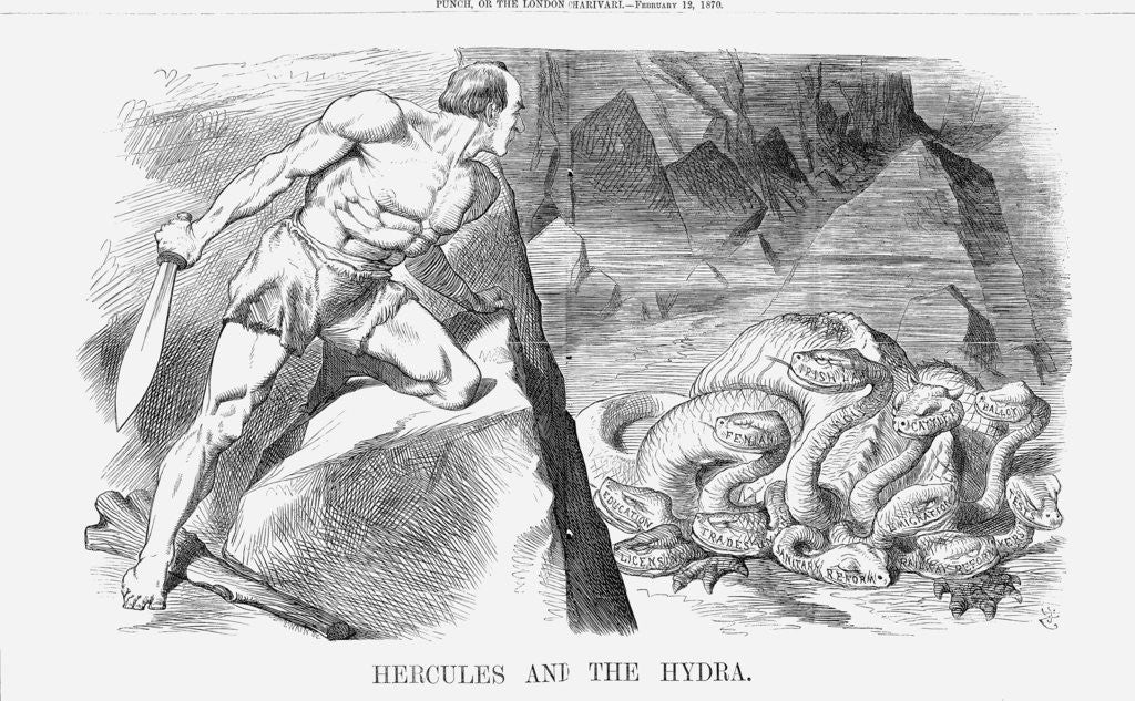 Detail of Hercules and The Hydra by Joseph Swain