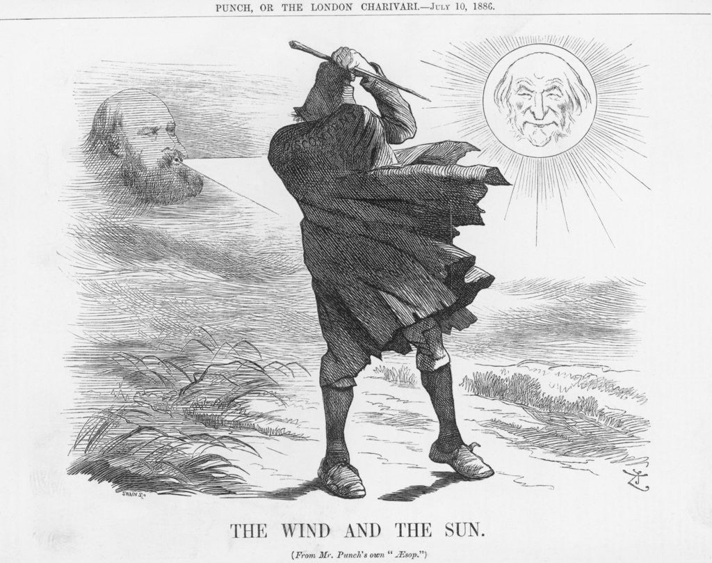 Detail of The Wind and the Sun by Joseph Swain