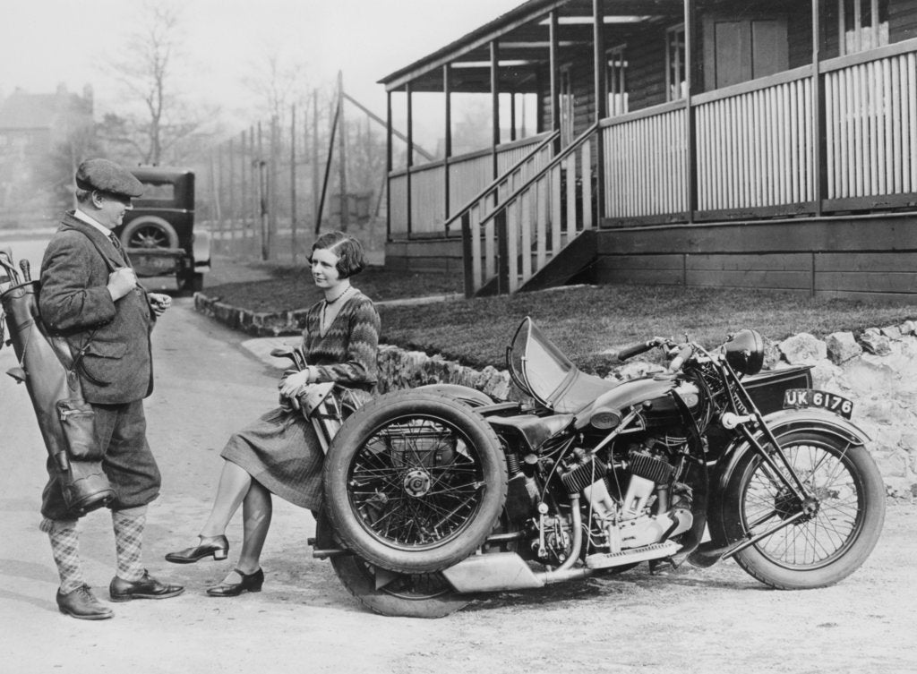 Golfers with a 1939 AJS and sidecar, (c1939?)