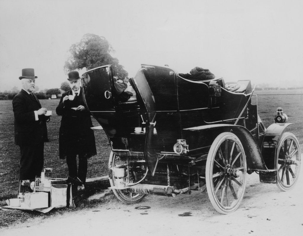 Detail of Men having tea beside a 1901 Panhard by Anonymous