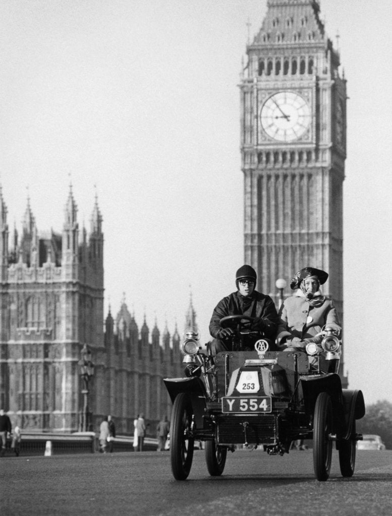 1903 De Dion on the London to Brighton Run with Big Ben behind, London
