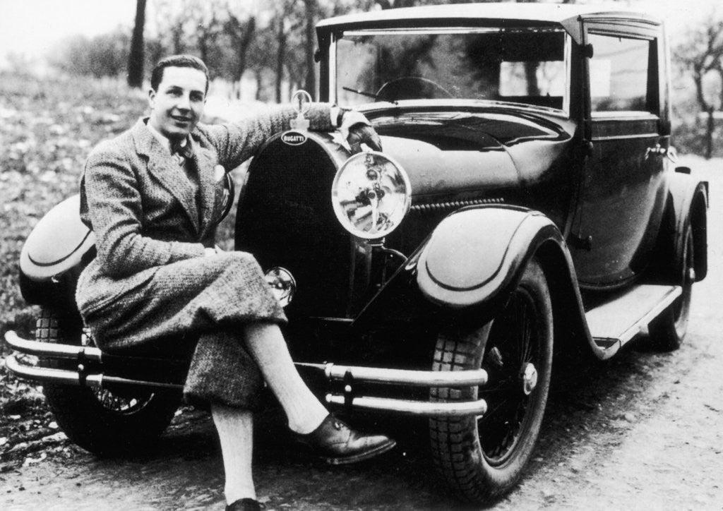 Detail of Jean Bugatti pictured with a Bugatti car by Anonymous