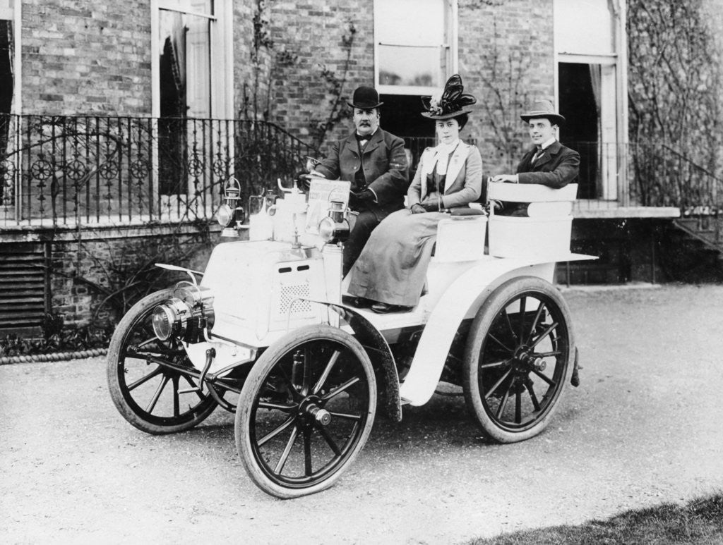 Detail of Frank Butler and daughter on a 6hp Panhard by Anonymous