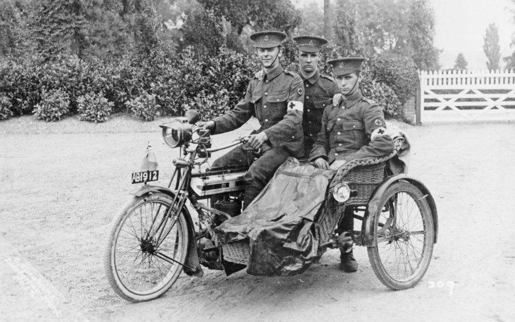 Detail of Three soldiers on a bicycle and sidecar by Anonymous