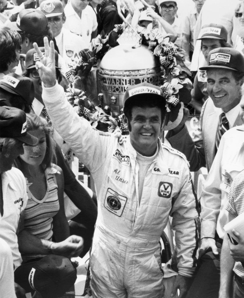 Detail of Al Unser, winner of the Indy 500 by Anonymous