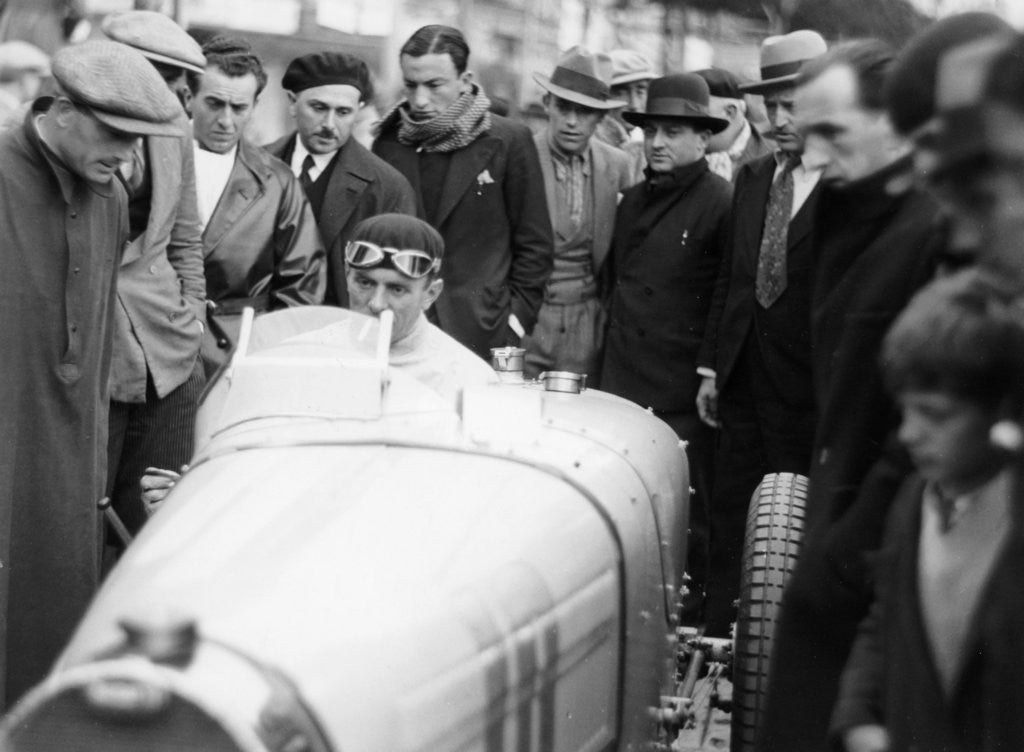 Detail of Achille Varzi in a Bugatti T51, winner of the Monaco Grand Prix by Anonymous