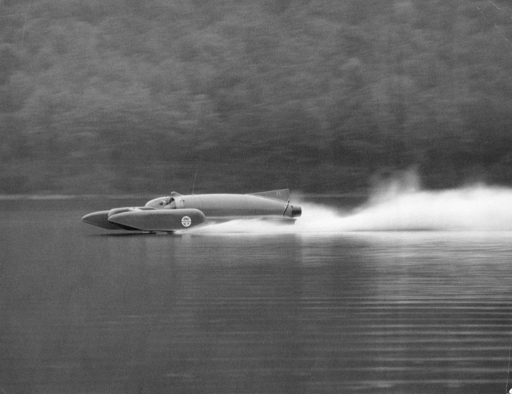 Donald Campbell in Bluebird K7, Coniston Water, Cumbria, 1958