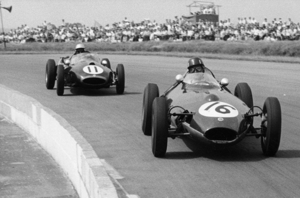 Detail of Graham Hill and Jack Brabham racing in the XI British Grand Prix by Anonymous
