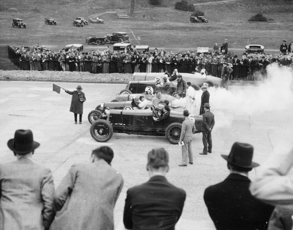 Cars lined up for the start of a race, Brooklands, Surrey, c 1925-c1930