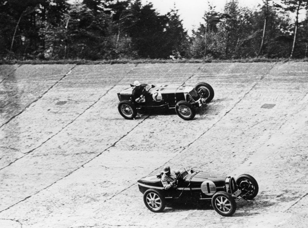 Detail of Maserati and Bugatti in action at Brooklands by Anonymous