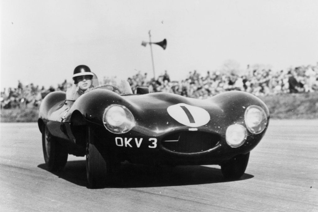Detail of Mike Hawthorn driving a D Type Jaguar by Anonymous