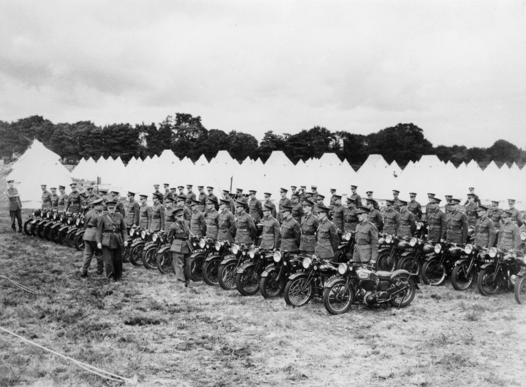 Sir Malcolm Campbell inspecting Territorial Army motorcycle reservists, c1938