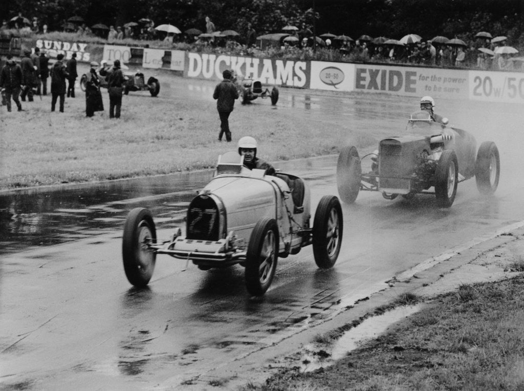 Detail of Neil Corner in a Bugatti at Oulton Park by Anonymous