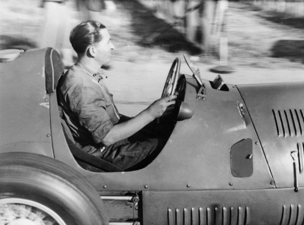 Detail of Alberto Ascari at the wheel of a racing car by Unknown