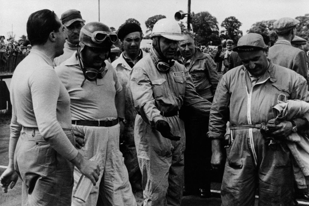 Detail of Alberto Ascari, Froilan Gonzalez, Guiseppe Farina (from left to right), and a mechanic by Unknown