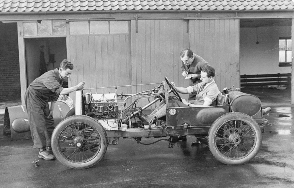 Detail of Amherst Villiers and a mechanic taking the revs of a Bugatti Cordon Rouge by Anonymous