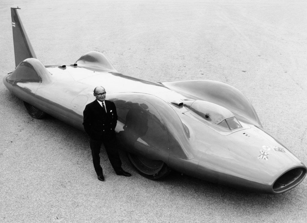 Detail of Leo Villa with the 1964 Bluebird by Anonymous