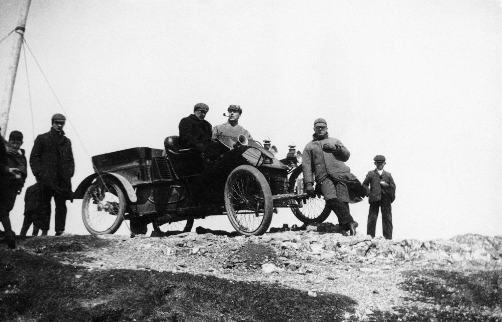 Detail of A veteran car and passengers at Great Orme's Head by Anonymous