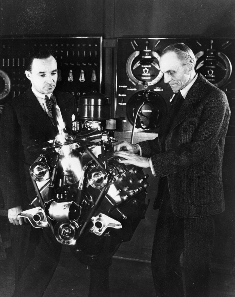 Detail of Henry and Edsel Ford with a Ford V8 engine by Anonymous