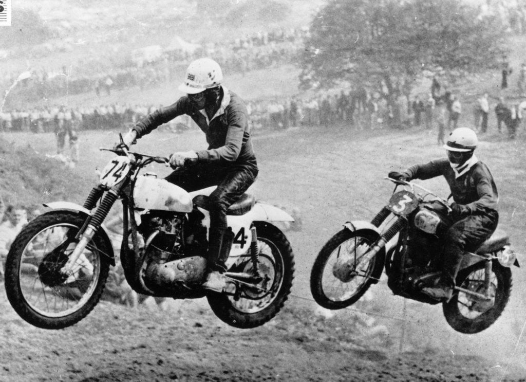 Detail of Two motorcyclists taking part in Motocross at Brands Hatch by Anonymous