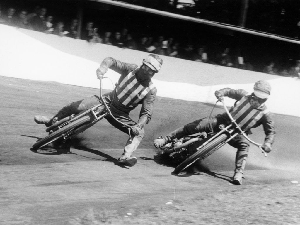 Detail of Dick Bradley (on the left) and Alby Golden at a speedway track by Anonymous