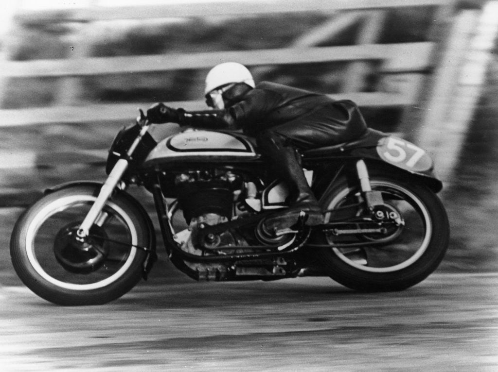 Detail of A Norton in action in the Isle of Man TT by Anonymous