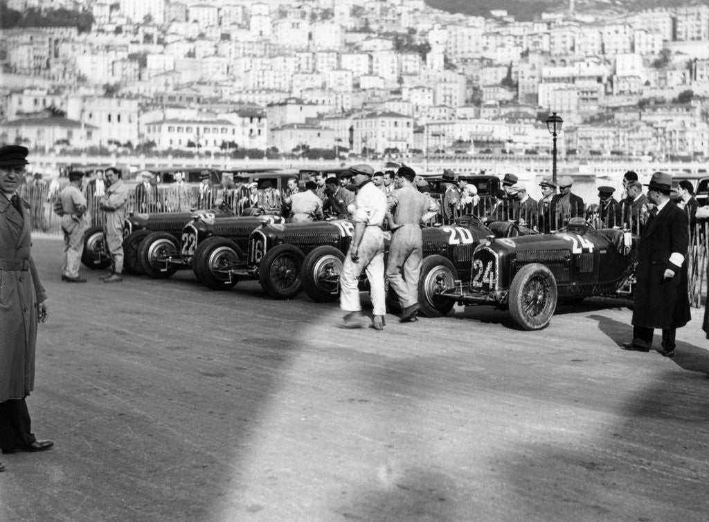 Detail of A line of Alfa Romeos at the Monaco Grand Prix by Anonymous