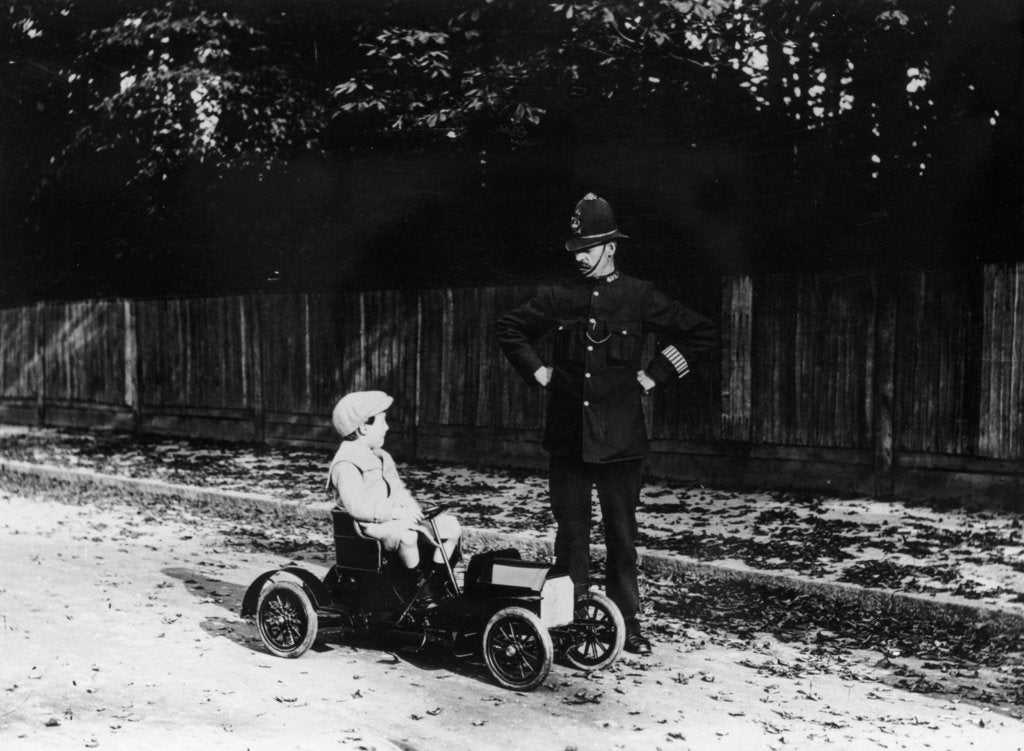 Detail of Boy in 1908 Mercedes pedal car by Unknown