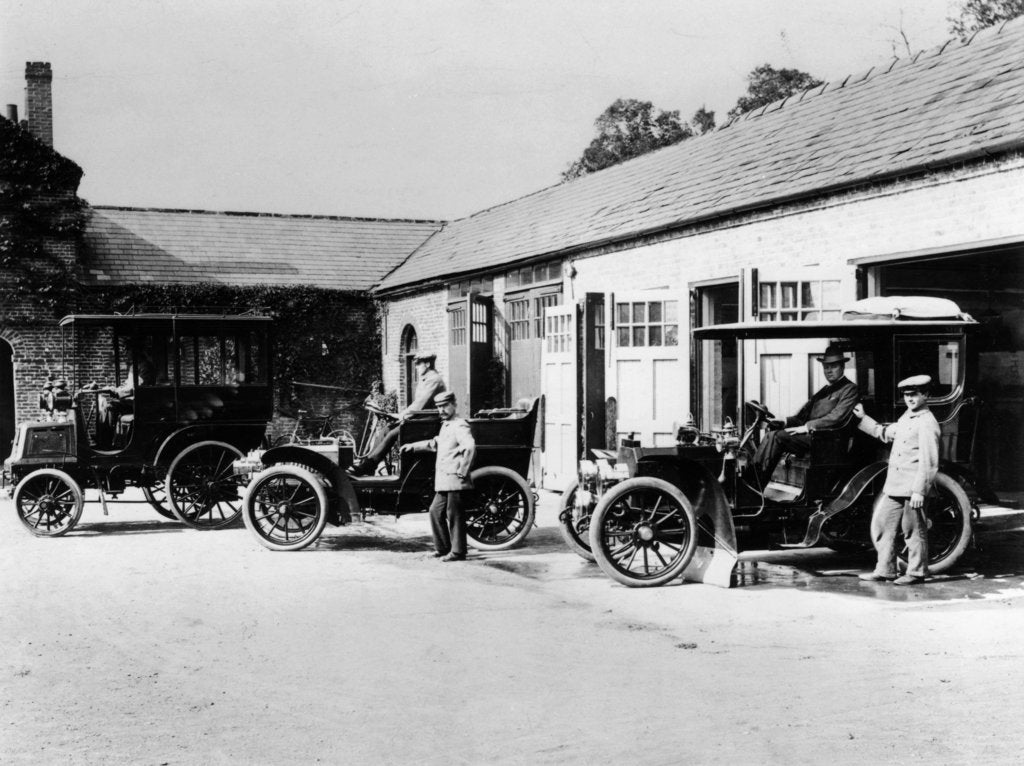 Detail of Cars parked at Lord Northcliffe's stable by Unknown