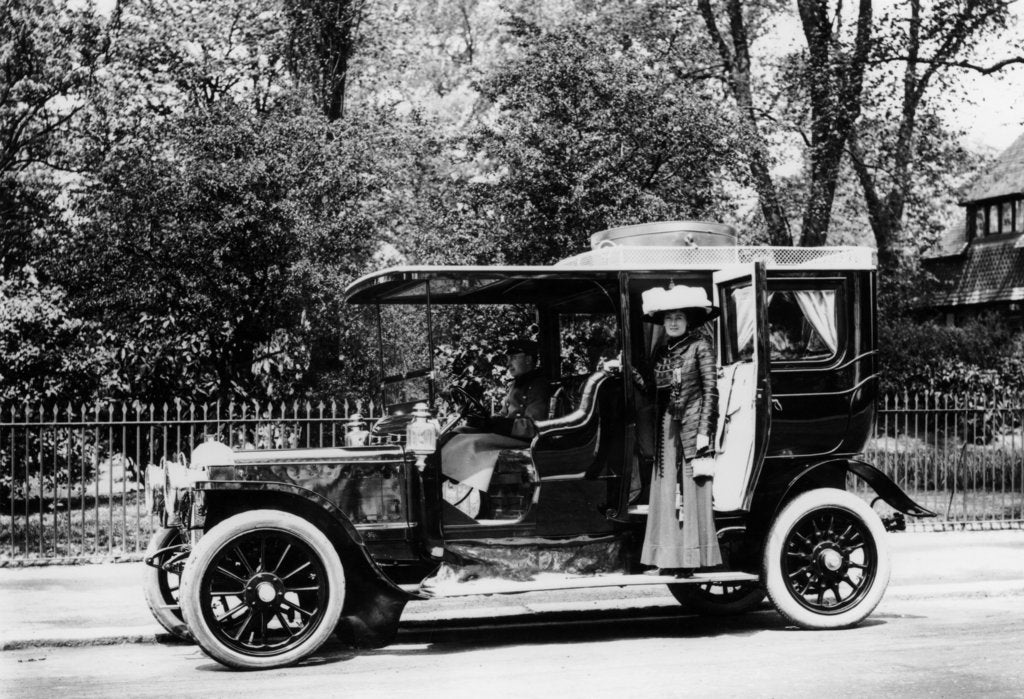 Detail of Woman stands by a 1907/8 Daimler by Unknown