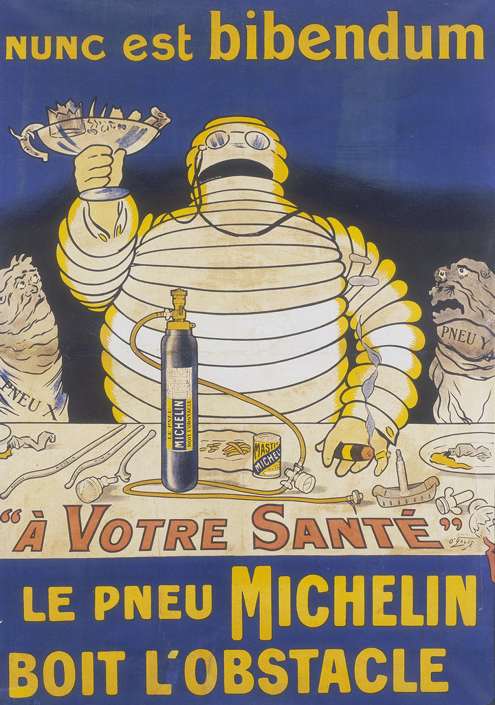 Detail of Poster with Mr Bibendum advertising Michelin tyres by Unknown