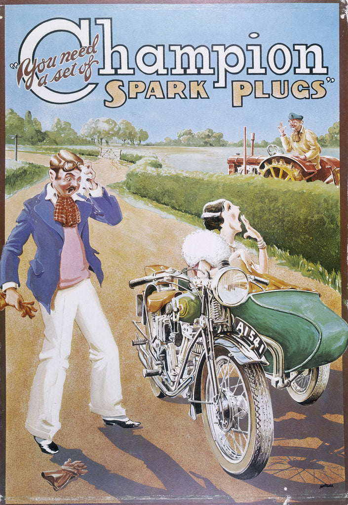 Detail of Poster advertising Champion spark plugs by Unknown