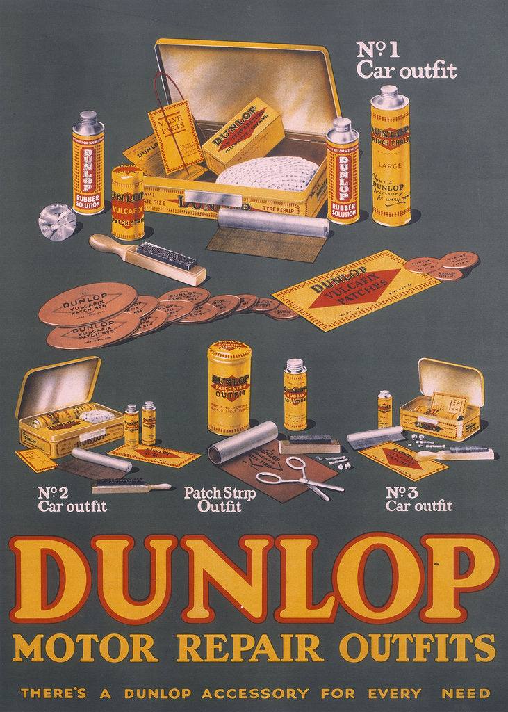 Detail of Poster advertising Dunlop products by Unknown