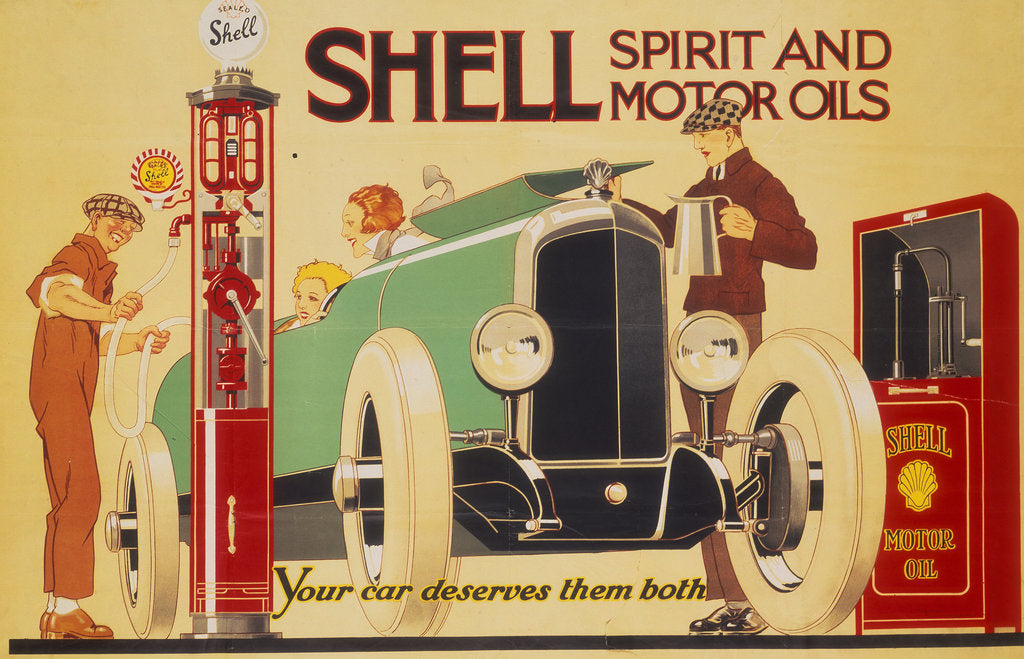 Detail of Poster advertising Shell spirit and motor oils by René Vincent