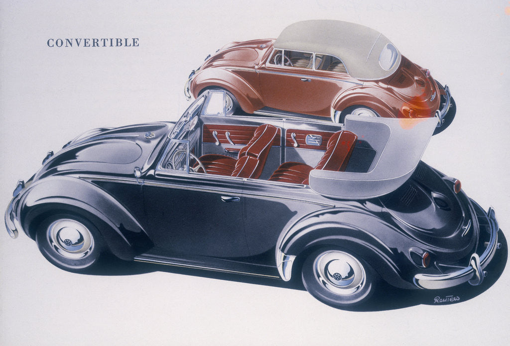 Poster advertising a Volkswagen Convertible by Anonymous