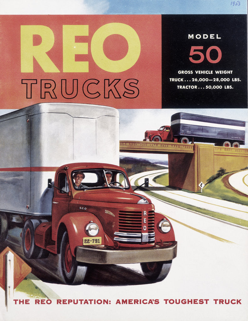 Detail of Poster advertising REO trucks by Anonymous