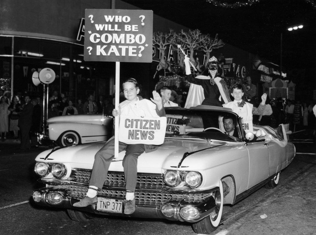 Detail of Fancy dress parade with a 1957 Cadillac by Anonymous