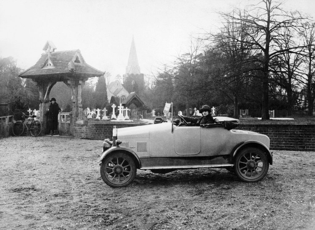 Detail of 1922 11.9 hp Calcott outside a church by Anonymous