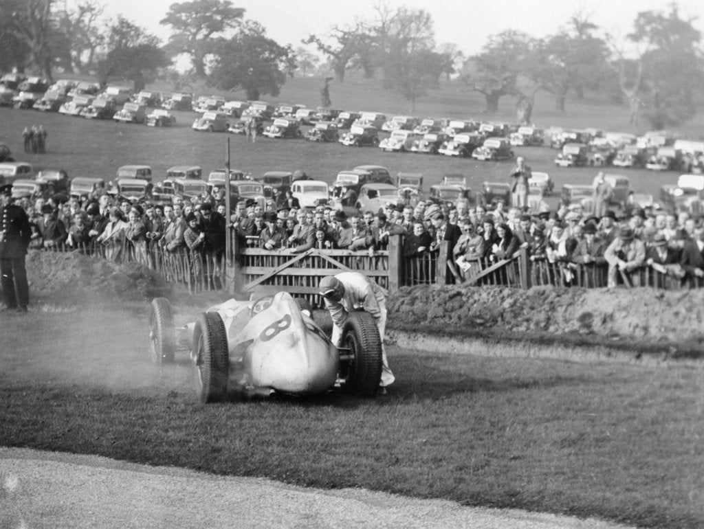 Dick Seaman with his Mercedes, Donington Grand Prix, 1938