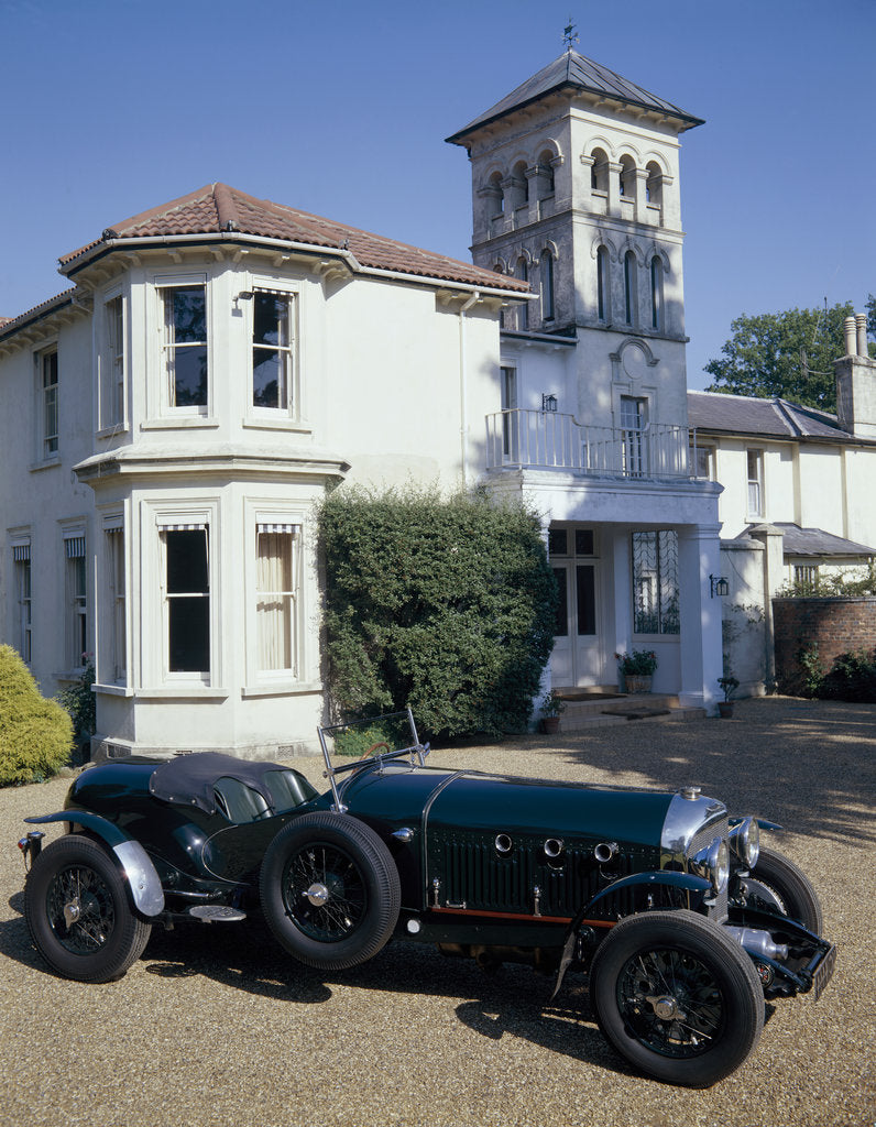 Detail of A 1930 Bentley Supercharged outside a house by Unknown