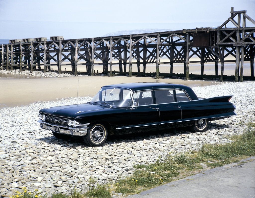 Detail of A 1961 Cadillac Presidential limousine on a beach by Unknown