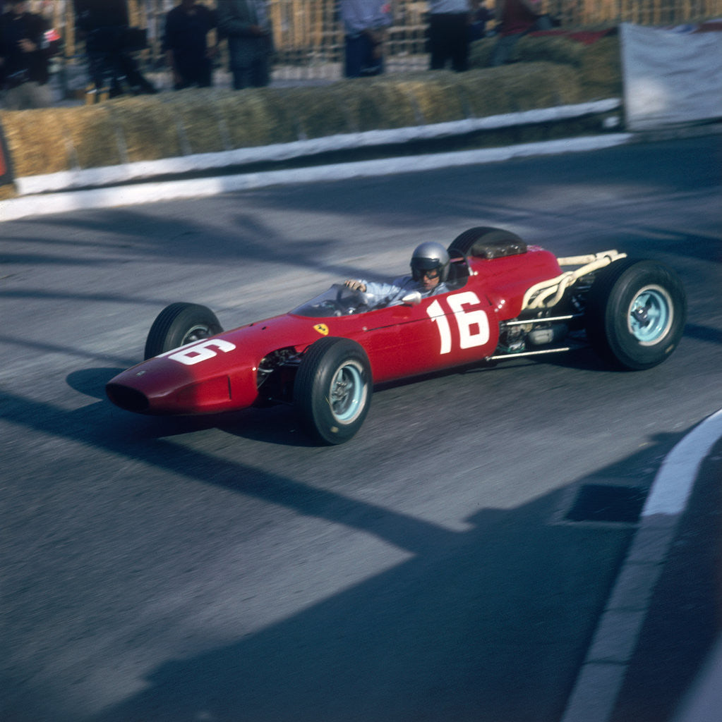Detail of Lorenzo Bandini driving a Ferrari 246, in the Monaco Grand Prix by Anonymous