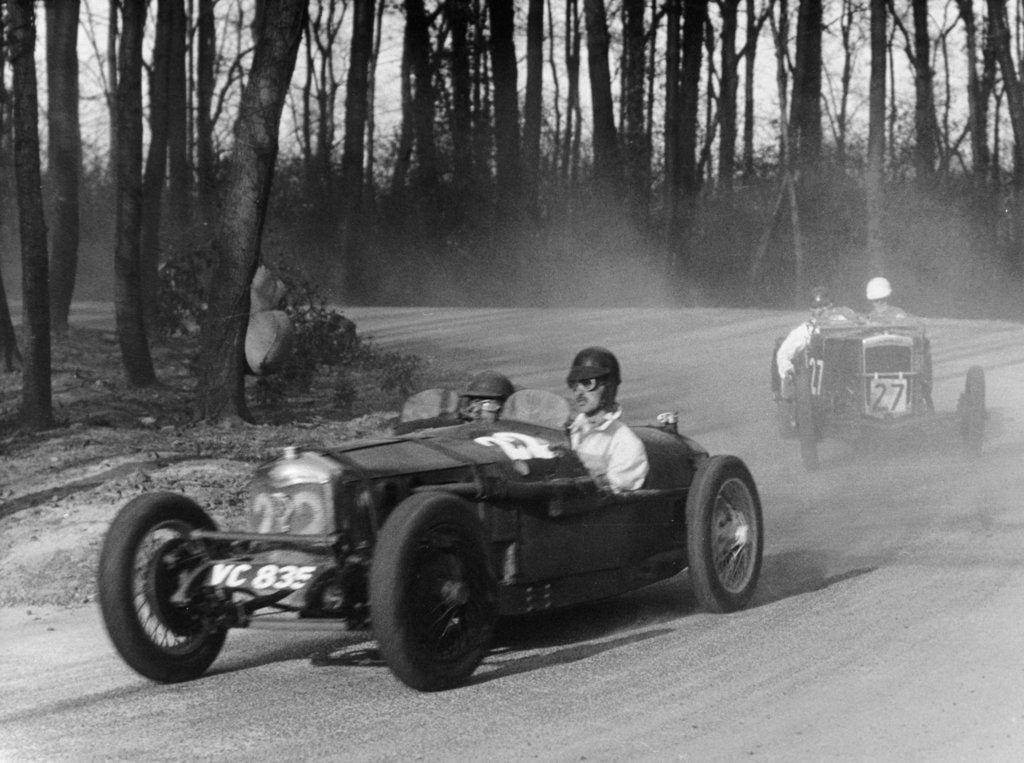 Riley leading a Fraser-Nash through Coppice Corner, Donington Park, Leicestershire, (c1930s?)