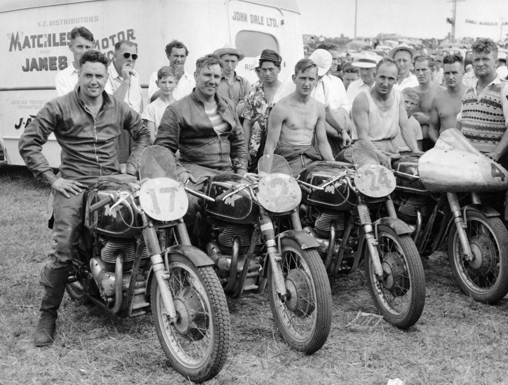 Detail of Matchless motorbike racing team by Unknown