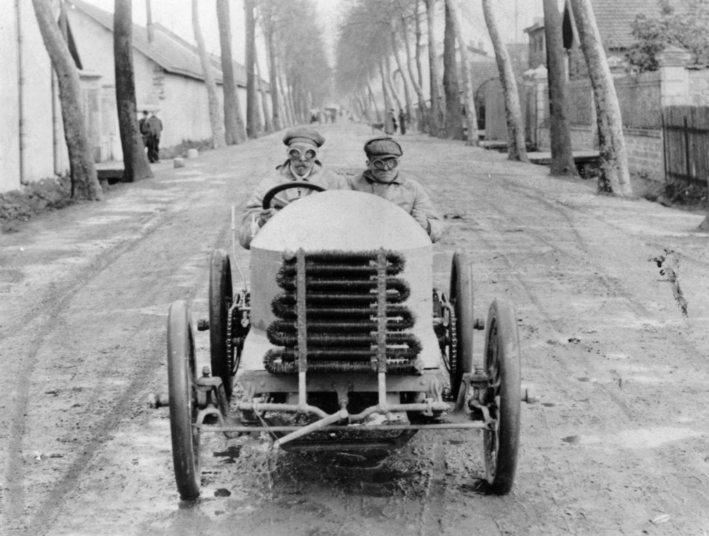 Lorraine Barrow at the wheel of a De Dietrich, Paris to Madrid Race, 1903