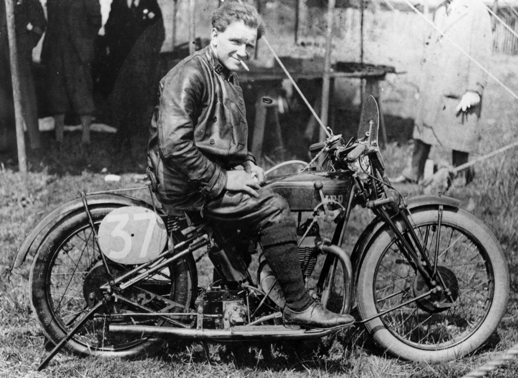 Detail of FW Dixon with a HRD motorbike by Anonymous