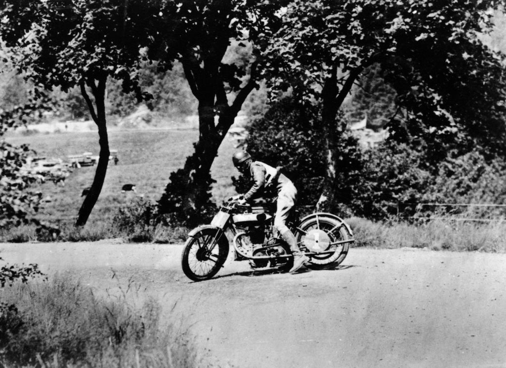 Detail of A man on a Norton bike taking part in the Belgian Grand Prix by Anonymous
