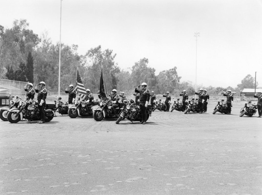 Detail of A police patrol with their Harley-Davidsons by Anonymous