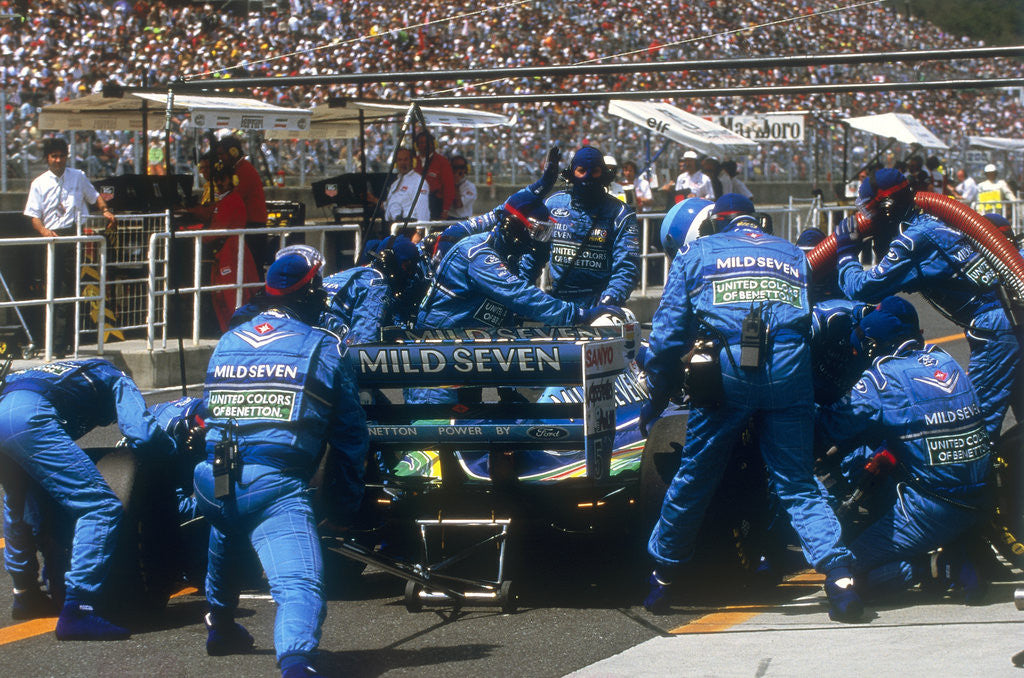 Detail of Pit stop for Michael Schumacher's Benetton-Ford by Anonymous