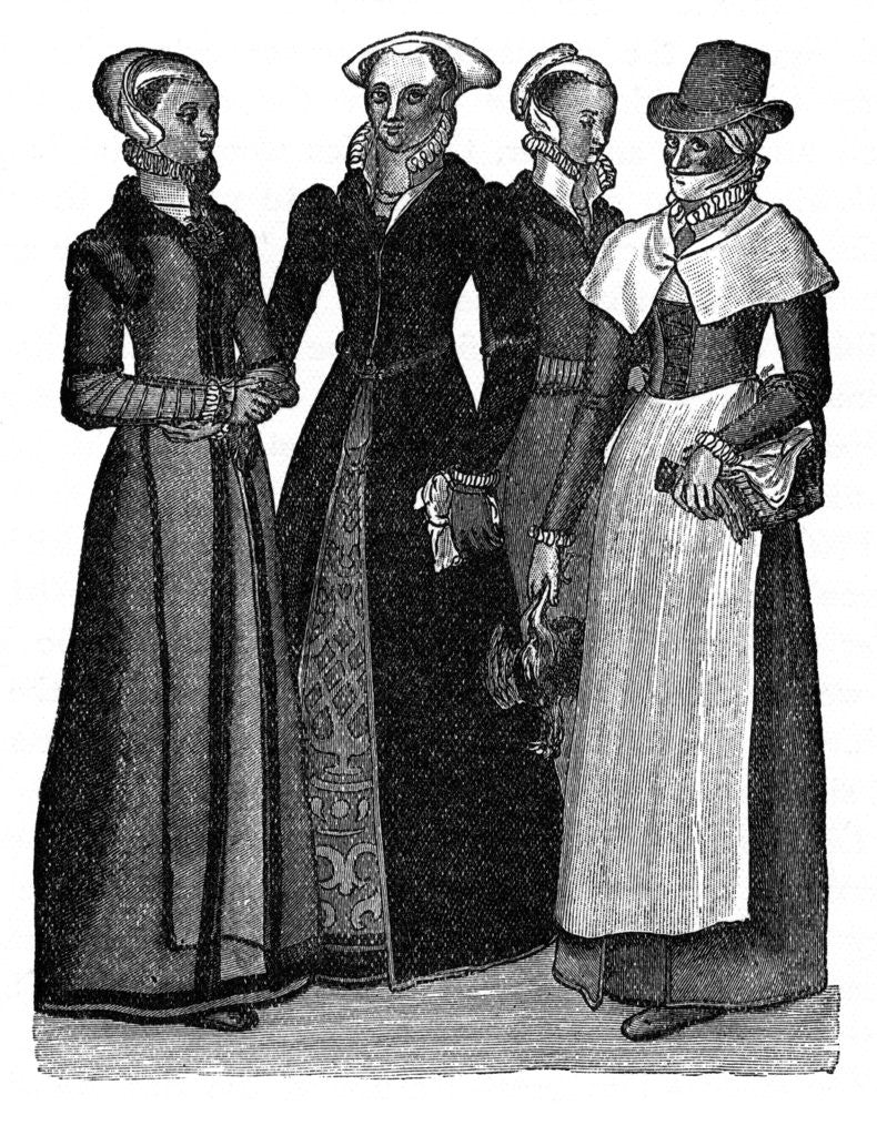 Detail of Costumes of town and country women by Anonymous